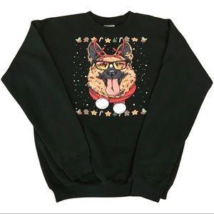 Christmas Sweatshirt with German Shepard D…